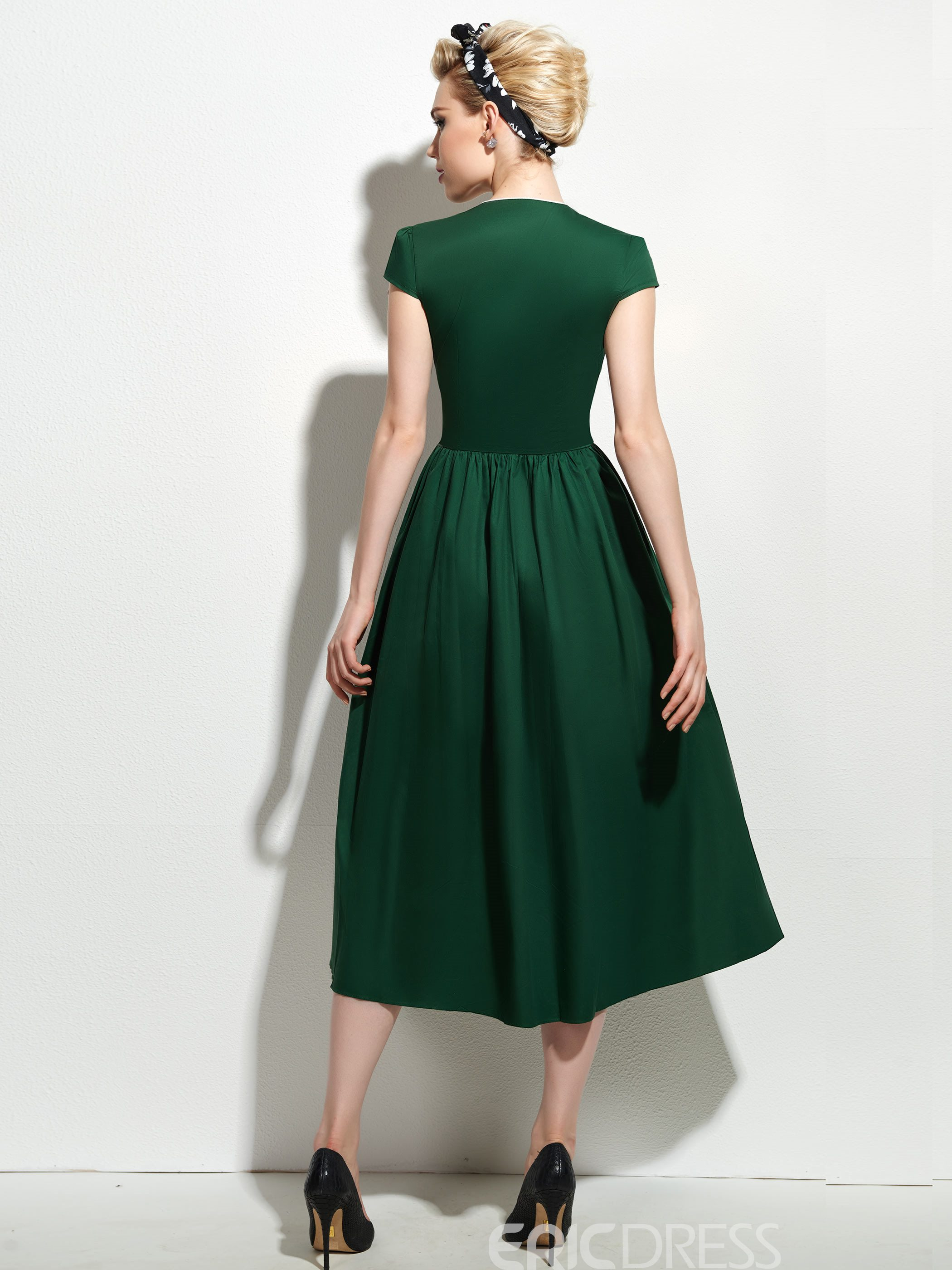 Ericdress Rockabilly Style Green High Waist Casual Dress