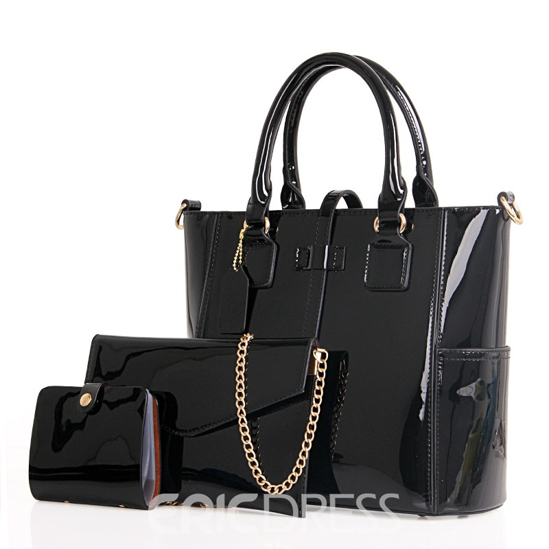 Ericdress Cool Belt Decorated Patent Leather Handbags(3 Bags)