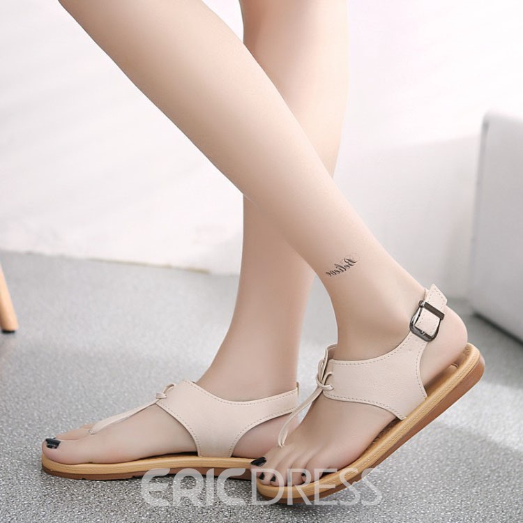 Ericdress Simple Clip Toe Beach Flats