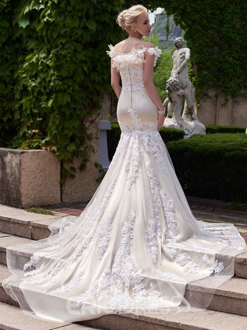 Ericdress 3D Flowers Off The Shoulder Mermaid Wedding Dress