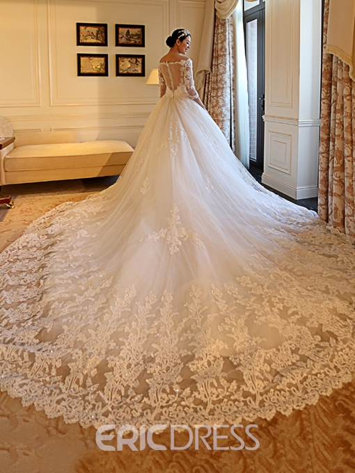 Ericdress Off the Shoulder Appliques Wedding Dress with Sleeves