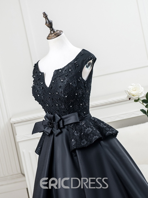 Ericdress A-Line Cap Sleeves Beading Lace Evening Dress In Tea-Length