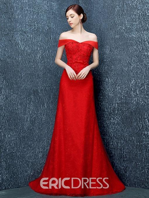 Ericdress Off-the-Shoulder Mermaid Sweep Train Evening Dress With Appliques And Beading