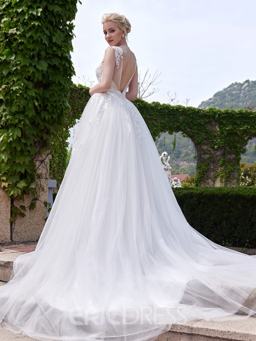 Ericdress Scoop Neck Appliques Garden Wedding Dress