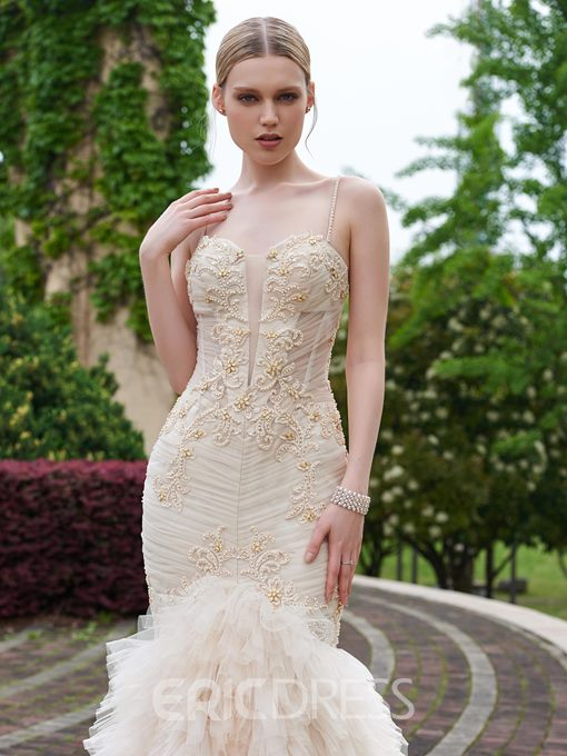 Ericdress Beautiful Beaded Spaghetti Straps Mermaid Wedding Dress