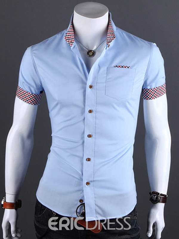 Ericdress Patchwork Slim Short Sleeve Casual Men's Shirt