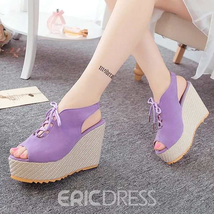 Ericdress Solid Color Suede Lace-Up Wedge Sandals