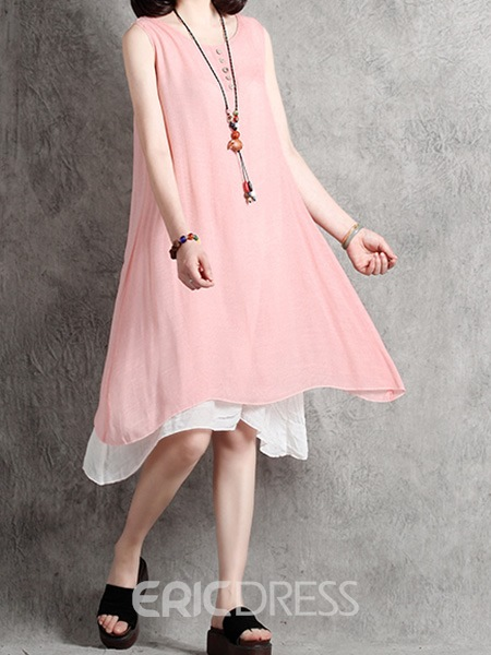 Ericdress Pastoral Loose Solid Color Sleeveless Casual Dress