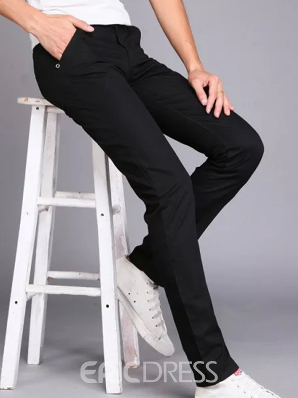 Ericdress Plain Straight Slim Slacks Men's Pants