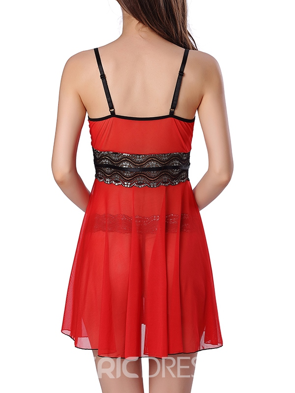 Ericdress Lace Patchwork Slit Sexy Babydoll
