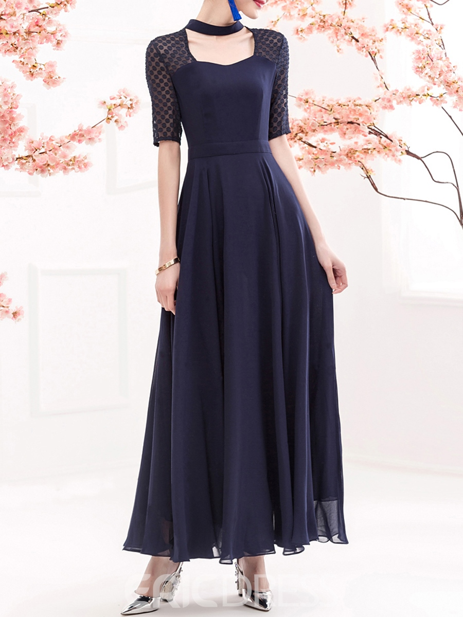 Ericdress Solid Color Patchwork Square Neck Expansion Maxi Dress