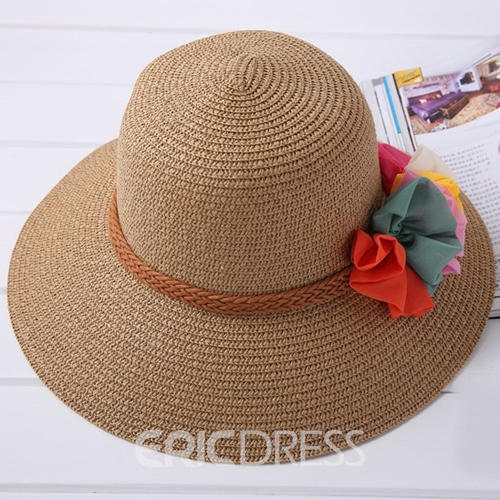 Ericdress Colorful Flower Embellished Straw Sunhat