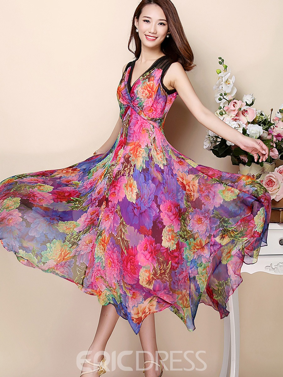 Ericdress Flower Print V-Neck Asymmetric Patchwork Maxi Dress