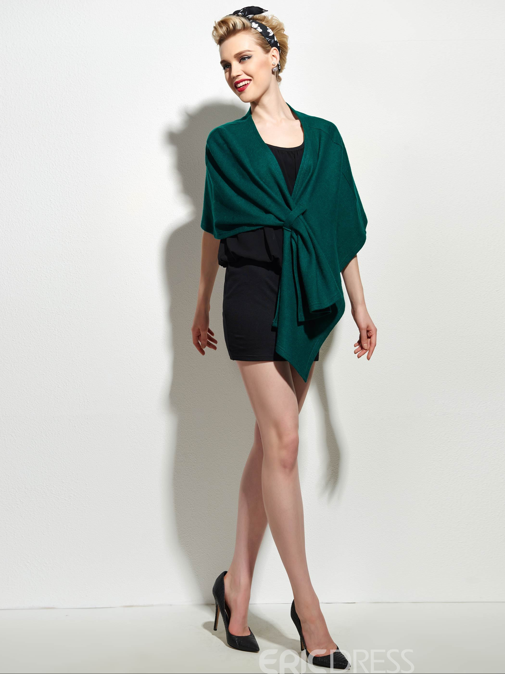 Ericdress Solid Color Pleated Asymmetric Cape