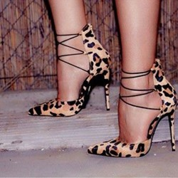 Ericdress Stylish Leopard Print Pointed-Toe Strappy Stiletto Heels Pumps фото