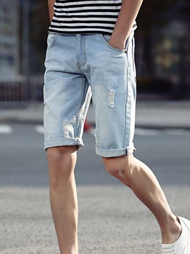 Ericdress Half Leg Denim Holes Casual Men's Shorts