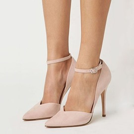Ericdress Suede Point Toe Ankle Strap Stiletto Sandals