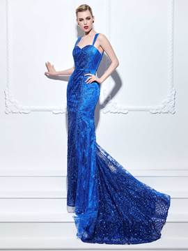 Ericdress Mermaid Straps Sequins Lace Court Train Evening Dress