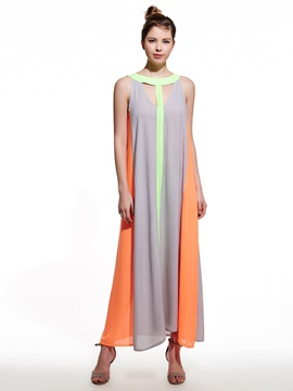 Ericdress Halter Color Block Maxi Dress