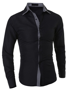 Ericdress Stripe Patchwork Long Sleeve Men's Shirt