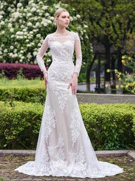 Ericdress Lace Appliques Mermaid Long Sleeves Wedding Dress