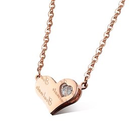 Ericdress Letter Printed Heart Pendant Rose Gold Necklace