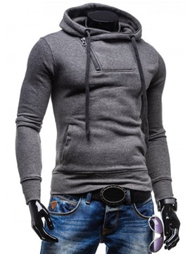 Ericdress Plain Half Zip Slim Casual Men's Hoodie