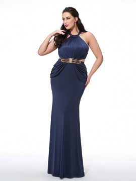 Ericdress Plus Size Halter Mermaid Beading Pleats Sashes Evening Dress