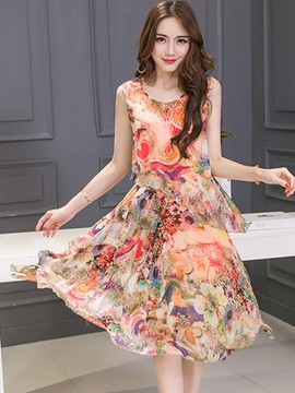 Ericdress Asymmetric Print Casual Dress