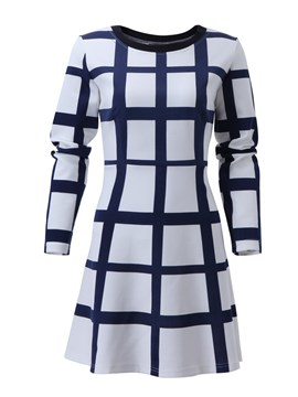 Ericdress Plaid A-Line Long Sleeve Casual Dress
