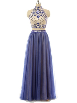 Ericdress High Neck A-Line Two Pieces Beading Floor-Length Prom Dress