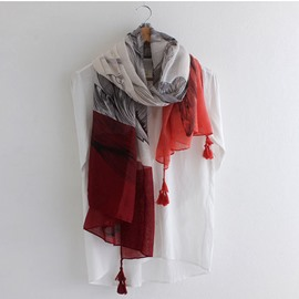 Slub Yarn Tassels Long Thin Scarf