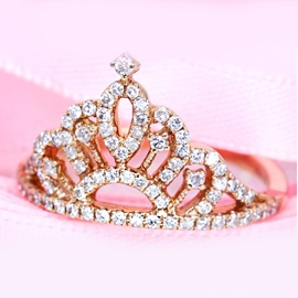 Ericdress Shining Crown Shaped Zircon Ring