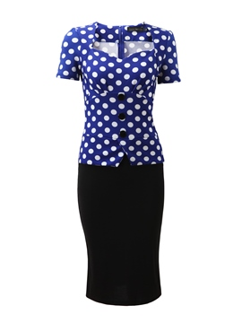 Ericdress Polka Dots Pencil Short Sleeve Knee-Length OL Summer Dress