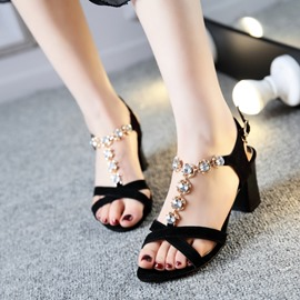 Ericdress Luxurious Rhinestone Chunky Sandals