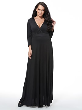 Ericdress Solid Color V-Neck Plus Size Maxi Dress