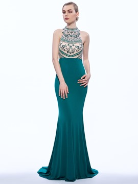 Ericdress Jewel Neck Mermaid Beading Court Train Evening Dress