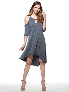 Ericdress Solid Color Cold Shoulder Hollow Casual Dress