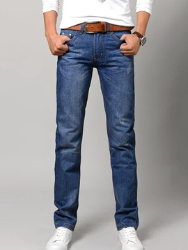 Ericdress Plain Straight Denim Casual Men's Pants