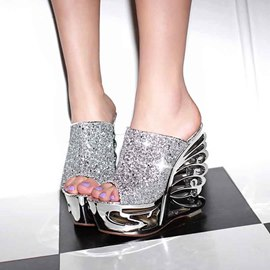 Ericdress Special Sequins Wedge Mules Shoes