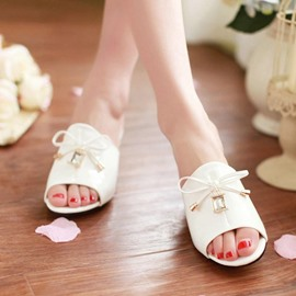 Ericdress Fresh Bowtie Peep Toe Mules Shoes