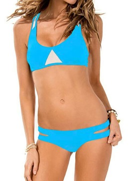 Ericdress Color Block Low Waist Hollow Bikini