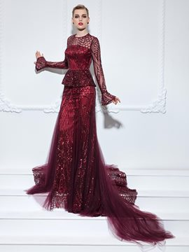 Ericdress Long Sleeves Jewel Neck Trumpet Ruffles Sequins Court Train Evening Dress