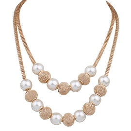 Double-Layer Pearl Ball Necklace