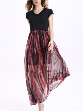 Ericdress Short Sleeve Patchwork Maxi Dress