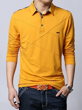 Ericdress Unique Stripe Patchwork Long Sleeve Polo Men's T-Shirt