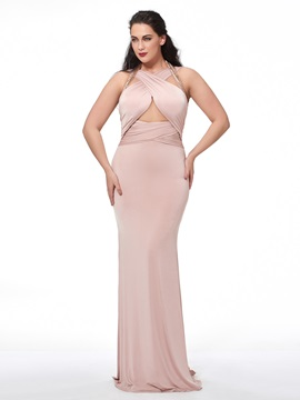 Ericdress Mermaid Halter Beading Ruched Sweep Train Evening Dress