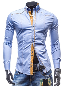 Ericdress Casual Slim Long Sleeve Men's Button Down Shirt