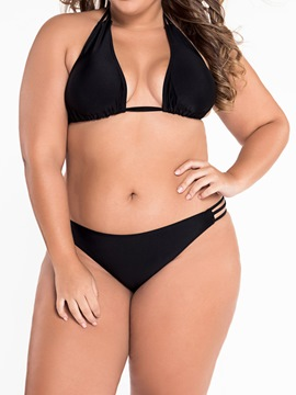 Ericdress Plain Halter Low-Waist Plus Size Swimwear