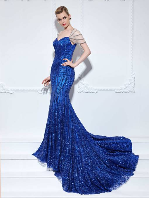 Ericdress Mermaid Sweetheart Short Sleeves Beading Sequins Court Train Evening Dress